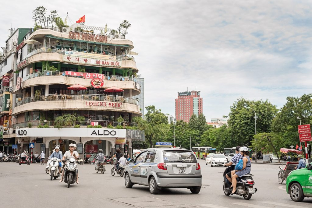 View of the market area in Hanoi