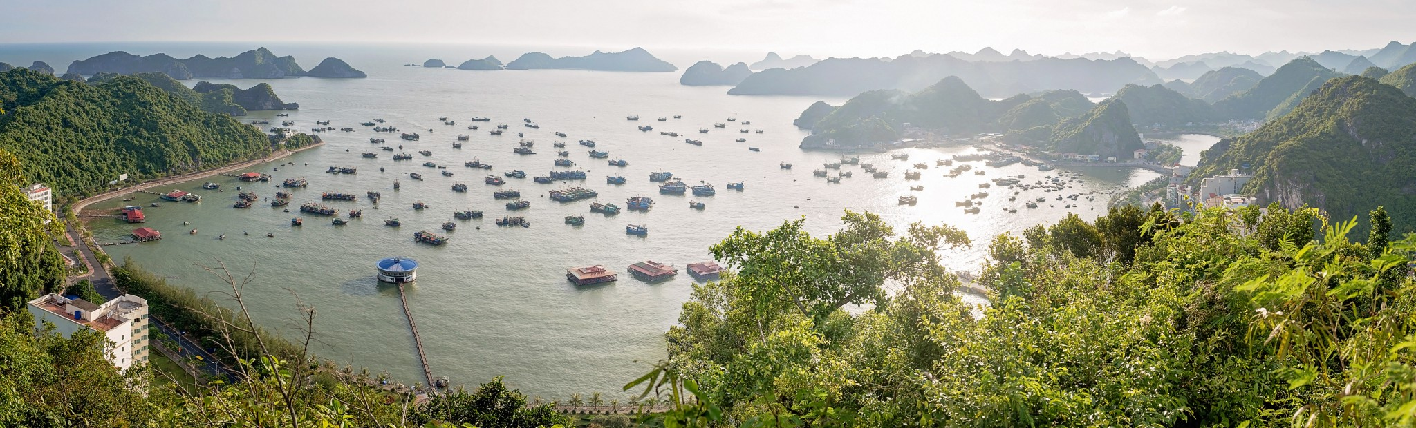 View of the bay in front of Cat Ba