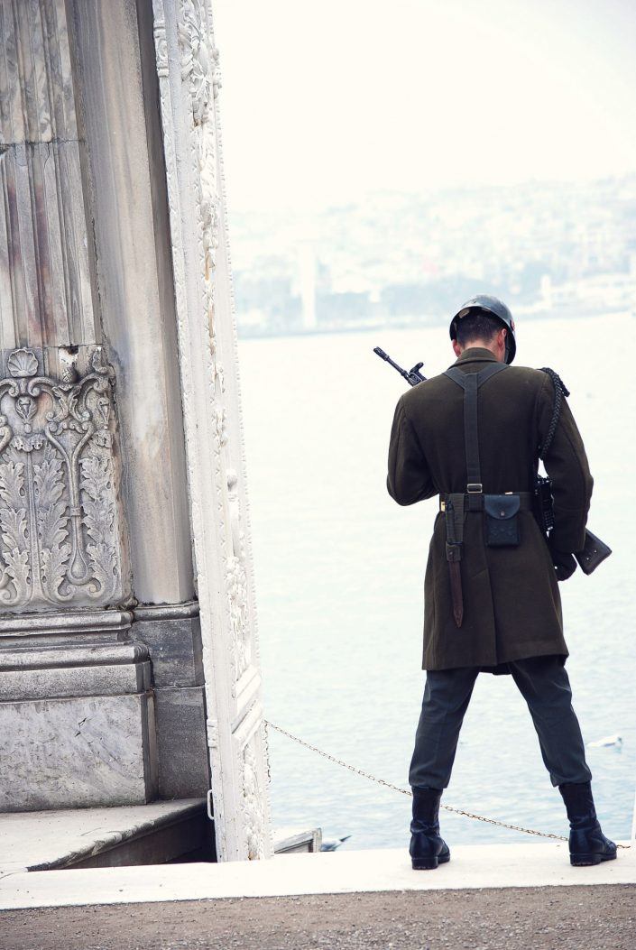soldier standing at dolmabahce palace istanbul