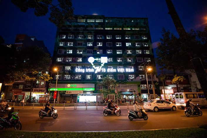 a building of supposedly council accomodation in ho chi minh vietnam