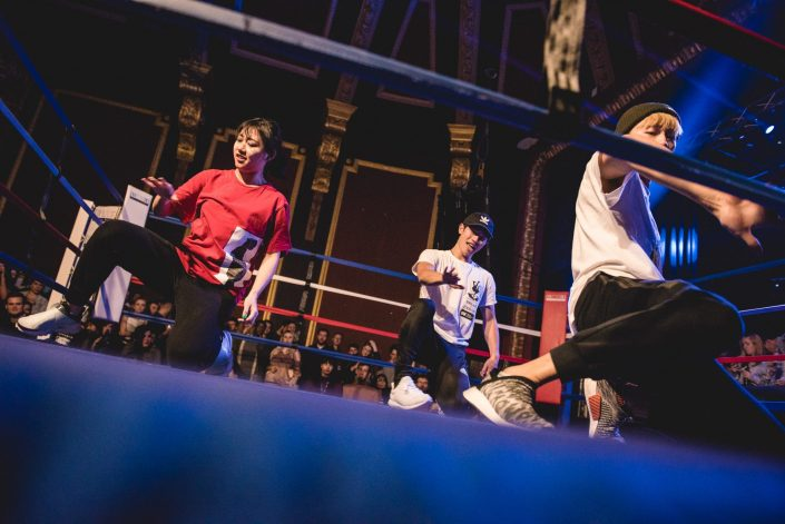 fight night kickboxing university bath ring breakdance performance