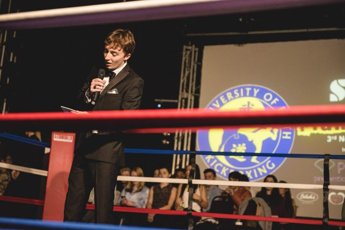fight night kickboxing university bath ring presenter